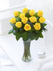 Elegant Yellow Rose Vase