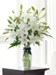 Luxury White Oriental Lily Vase